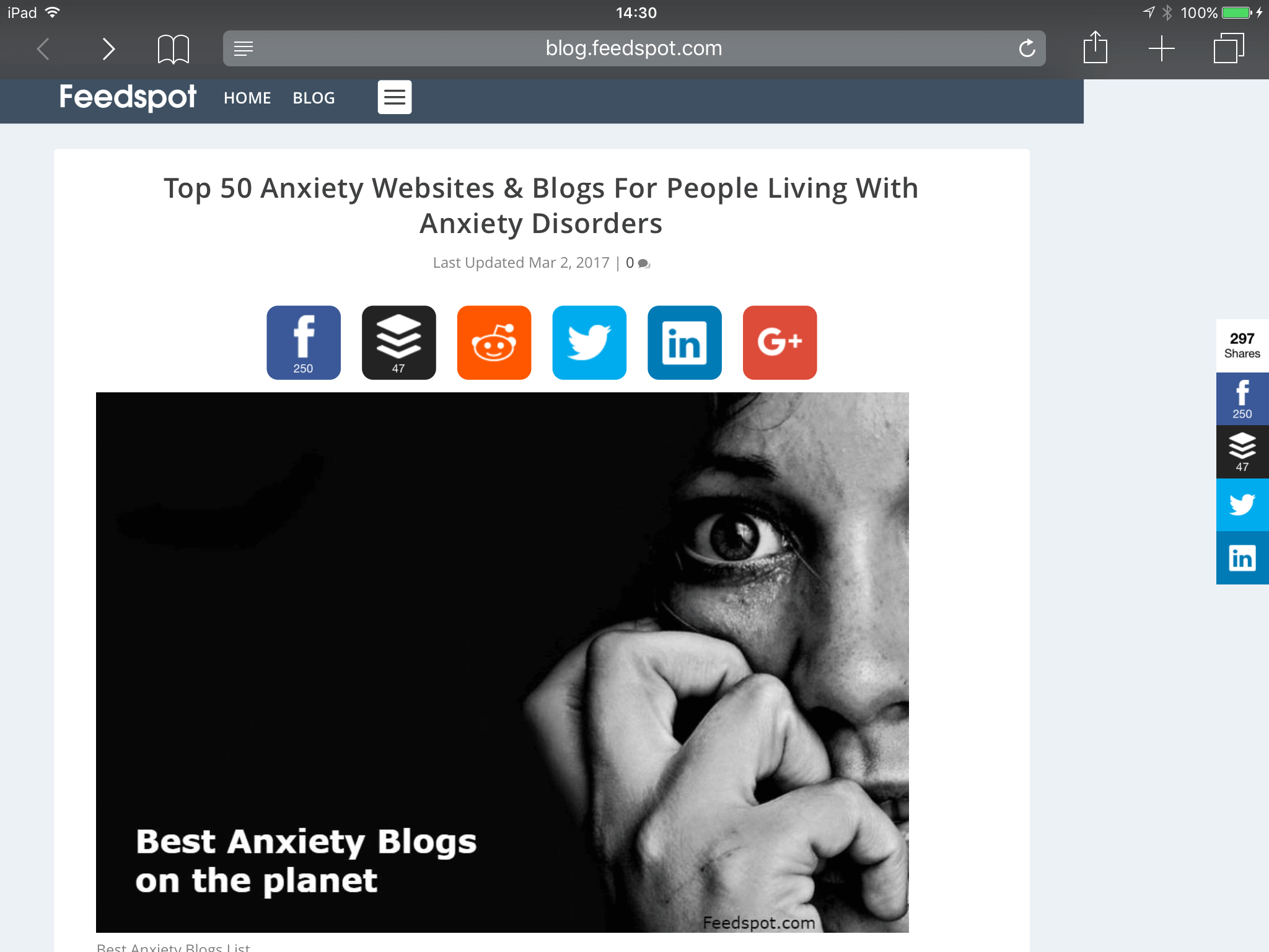 top 50 anxiety blogs feedspot